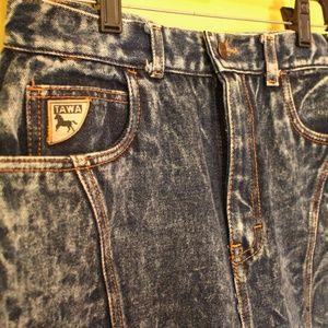 80s 90s Vintage Acid washed denim jean skirt
